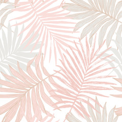 Luxurious botanical tropical leaf background in pastel blush pink colors.