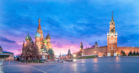 Sightseeing Of Moscow, Russia. Panoramic view of Moscow Kremlin and The Cathedral of Vasily the Blessed known as Saint Basil's Cathedral. Beautiful sunrise view of the russian capital city. Panorama