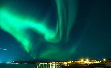 The polar lights in Norway. Tromso, Vikran