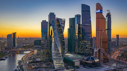 Moscow city skyline aerial view, Moscow International Business and Financial Center at sunset with Moscow river, Russia. Fotobehang