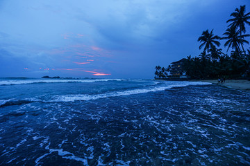 beautiful view of the ocean. dusk, classic blue color of the year