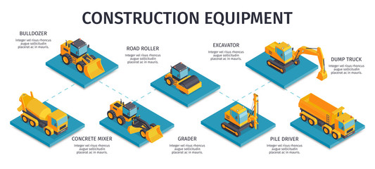 Construction Equipment Isometric Infographics