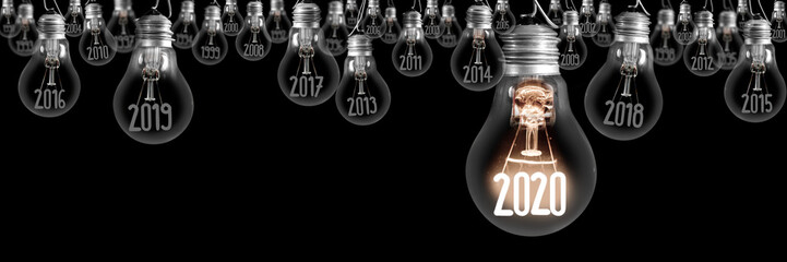 Light Bulbs with New Year 2020 Fotomurales