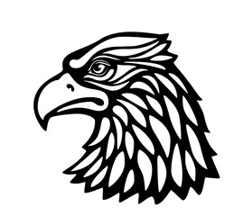 Eagle head msacot isolated on white background. Black and white vector illustration