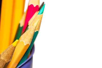 Color bright pencils in the stand and space