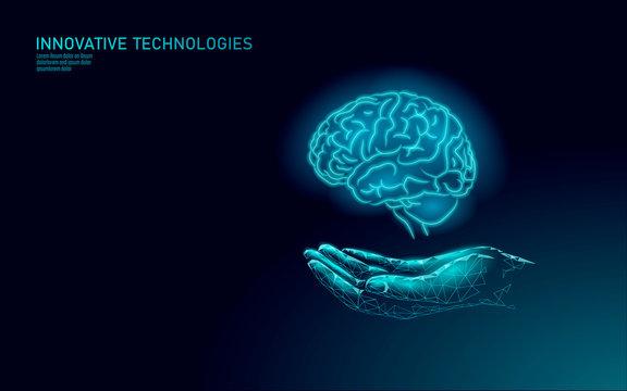 Brain treatment low poly 3D render. Medicine care hand drug mental health concept. Cognitive rehabilitation in Alzheimer's disease center banner template patient vector illustration