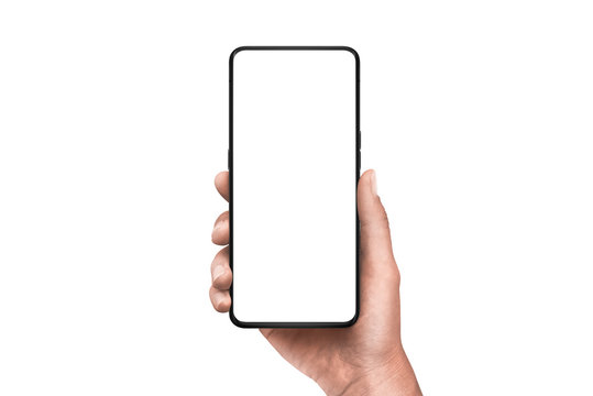 Modern smart phone in hand. Isolated background and screen. Thin edges od smartphone without a camera