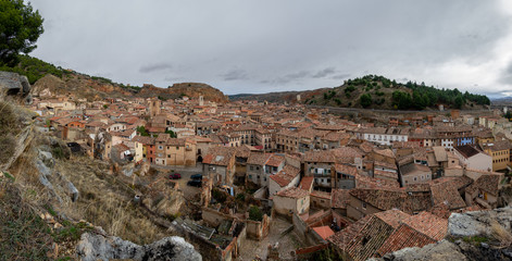Wide panorama of the antique city of Daroca