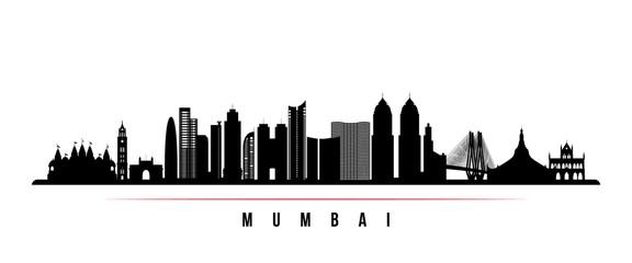Mumbai skyline horizontal banner. Black and white silhouette of Mumbai, India. Vector template for your design.