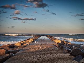 Stormy beach in Thyboroen, West Denmark