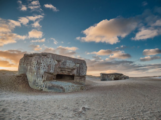 Bunker from WW2 on a Danish beach in Thyboroen, Denmark