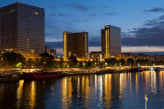 Towers cityscape at Paris by night, France