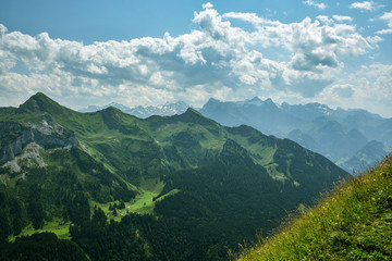 Beautiful view on Swiss Alps as seen from the ridge above the Stoos village