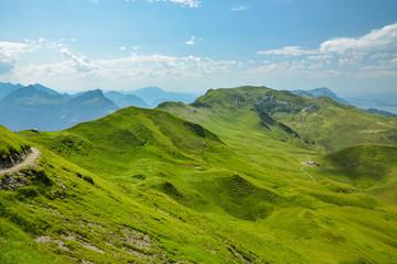 Walking trail on the ridge from Klingenstock peak to Fronalpstock peak above the small village of Stoos