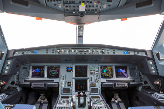 LE BOURGET PARIS - JUN 20, 2019: Cockpit view of the Airbus A330neo passenger plane on display at the Paris Air Show.