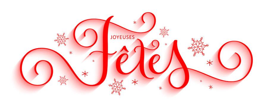 Bannière calligraphique vecteur « JOYEUSES FETES »