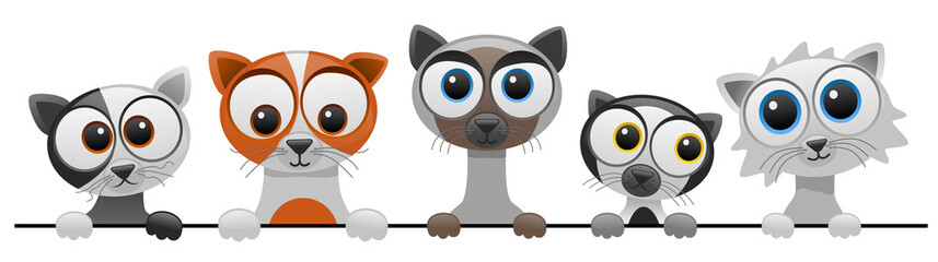 vector illustration of cute cartoon cat series 2 Fototapete