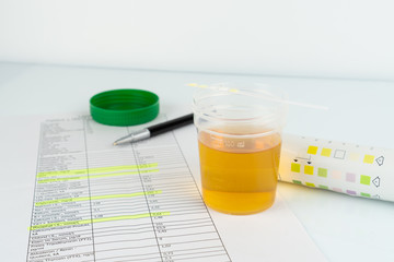 Check up, routine urinalysis, reagent strip for urinalysis