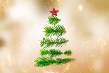 Merry Christmas or New Year decoration golden background