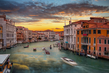 Beautiful sunset over the Grand Canal in Venice city, Italy