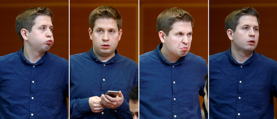 A combination picture shows different facial expressions of Kevin Kuehnert leader of the Social Democratic Party's youth wing Jusos before the start of a senior leaders meeting in Berlin