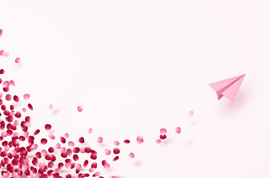 Petals of rose flower with plane postcard. Paper flying airplane on pink background. Vector symbols of love for Happy Women's, Mother's, Valentine's Day greeting card design.