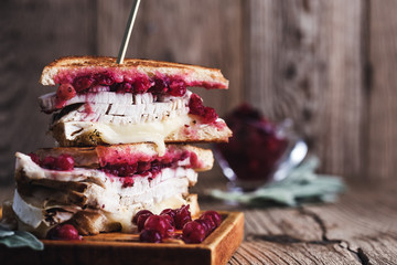 Thanksgiving turkey sandwich with brie cheese and cranberry sauce