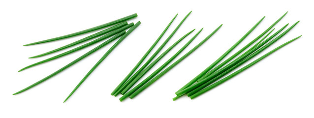 Fototapeta Chives isolated. Young green onion. Collection. Flat lay. Top view. obraz