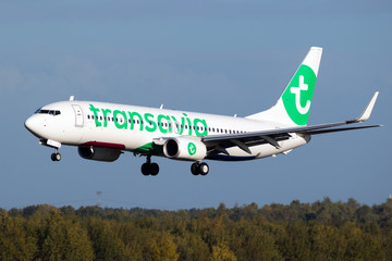 Transavia airlines Boeing 737 airplane landing on Eindhoven Airport on October 27, 2017