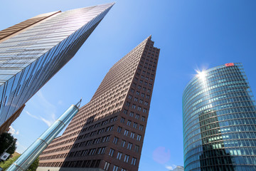 Modern highrise at the Potsdamer Platz in Berlin, Germany on April 28, 2018