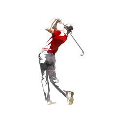 Golf player, isolated low poly vector silhouette, geometric golfer logo