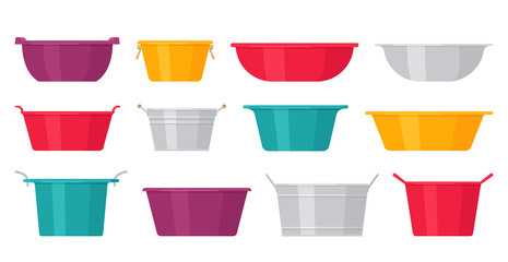Basin. Vector. Plastic, metal washbowls. Bowl icons in flat design, isolated on white background. Cartoon colorful illustration. Set of containers. Fototapete