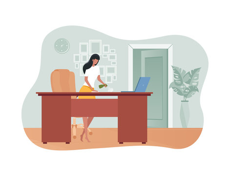 Girl wipes the dust from the desk in the room. Beautiful housewife is cleaning. Vector illustration in flat style