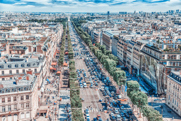 Wall Mural - PARIS, FRANCE - JULY 06, 2016 : Beautiful panoramic view of Paris from the roof of the Triumphal Arch. Champs Elysees.