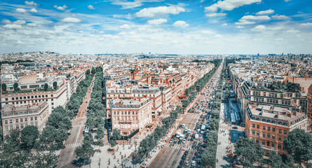 Fotomurales - Beautiful panoramic view of Paris from the roof of the Triumphal Arch. Champs Elysees.