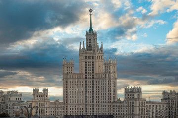 """one of the seven built """"Stalinist skyscrapers"""" in Moscow."""
