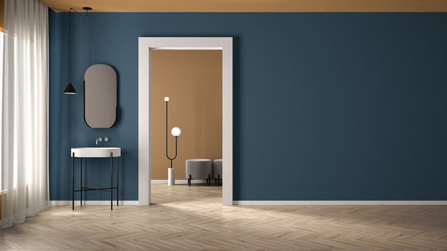 Minimalist bathroom with plaster walls and parquet floor, empty room with sink and mirror, door with room in the background. Blue and yellow interior design concept with copy space