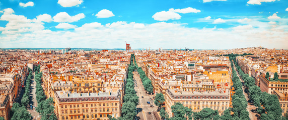 Wall Mural - Beautiful panoramic view of Paris from the roof of the Triumphal Arch. France.
