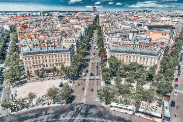 Fotomurales - PARIS, FRANCE- JULY 06, 2016 : Beautiful panoramic view of Paris from the roof of the Triumphal Arch. France.