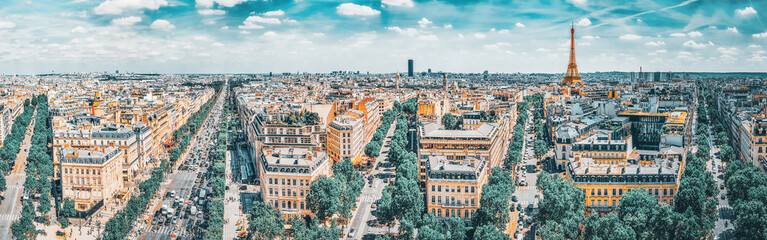 Fototapete - Beautiful panoramic view of Paris from the roof of the Triumphal Arch. Champs Elysees.
