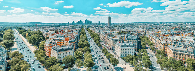 Wall Mural - Beautiful panoramic view of Paris from the roof of the Triumphal Arch. View of the district of La Defense.