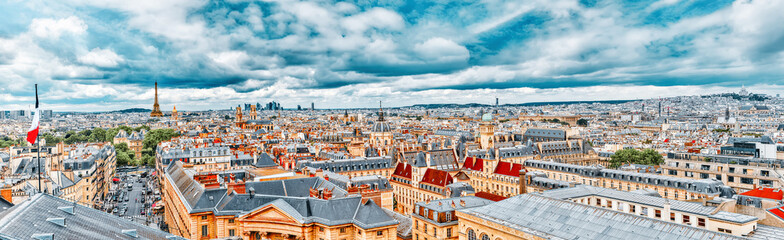 Wall Mural - Beautiful panoramic view of Paris from the roof of the Pantheon. View of the Eiffel Tower and flag of France.