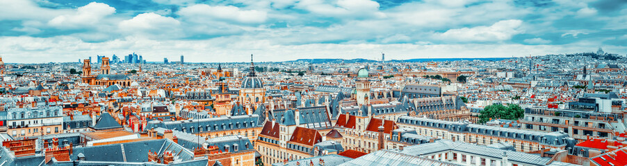 Wall Mural - Beautiful panoramic view of Paris from the roof of the Pantheon.