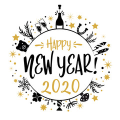New Year greetings 2020 gold and black