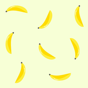 Repeat pattern with yellow bananas for fruit background