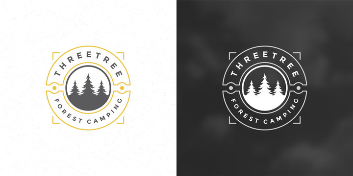 Forest camping logo emblem vector illustration outdoor adventure leisure pine trees silhouettes
