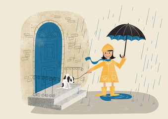 Digital Illustration of a young girl taking a walk in the rain with her reluctant puppy dog