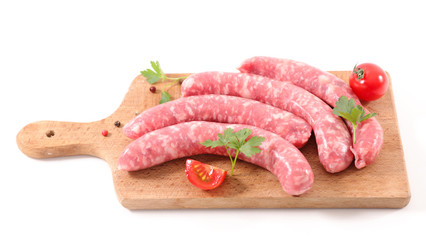Papiers peints Viande raw sausage isolated on white background