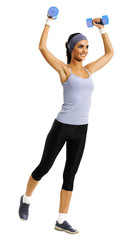 Full body of african american woman in sportswear, doing fitness exercise with dumbbells, isolated against white background. Young sporty model at studio shot. Health, beauty and fitness concept.