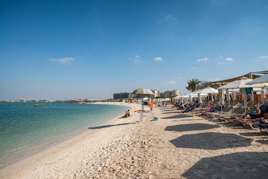 ABU DHABI, UAE - DECEMBER 8, 2016: Yas Island beach on a sunny day